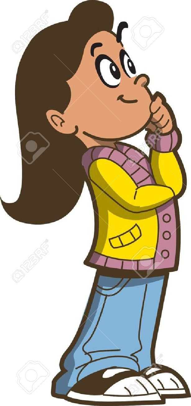 On of a girl. Young clipart thinking