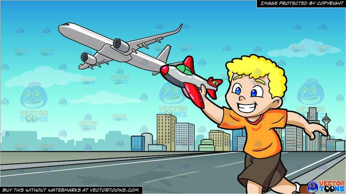 Cartoon a boy playing. Young clipart toy airplane