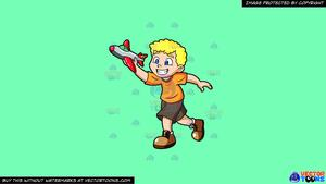 Young clipart toy airplane. A boy playing with