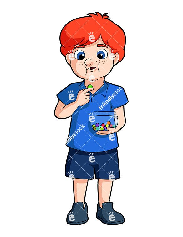 Young clipart vector. A boy eating colorful