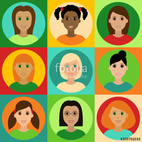 Beautiful girls avatar set. Young clipart vector