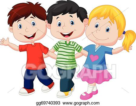 Young clipart young child. Vector happy children cartoon