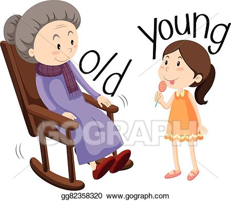 Young clipart young old. Vector stock woman and