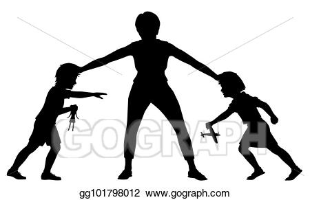Eps vector rivalry silhouette. Young clipart young sibling