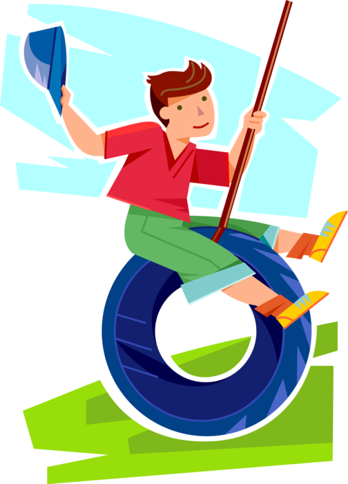 Swings on outdoor tire. Young clipart youngster