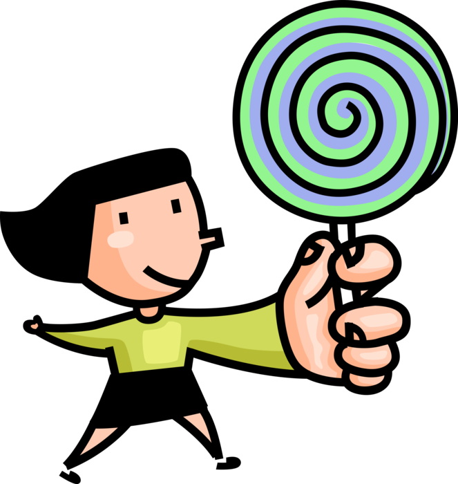 With lollipop sucker vector. Young clipart youngster