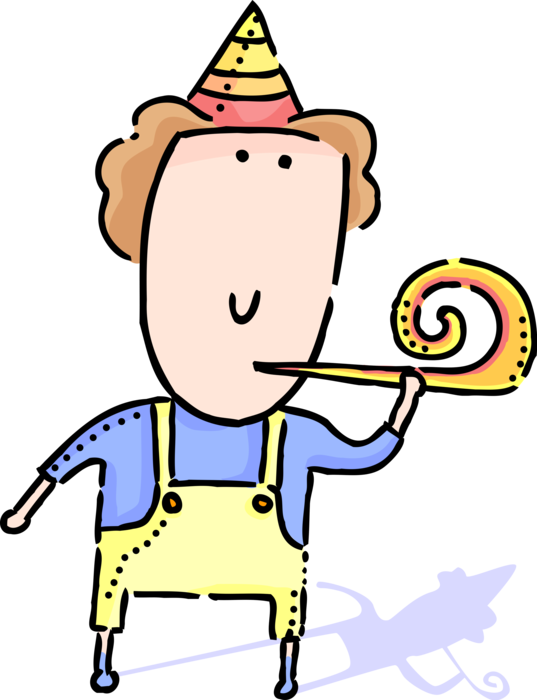With party whistle vector. Young clipart youngster