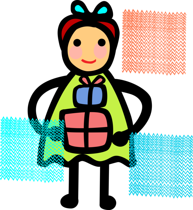 Holds christmas present vector. Young clipart youngster