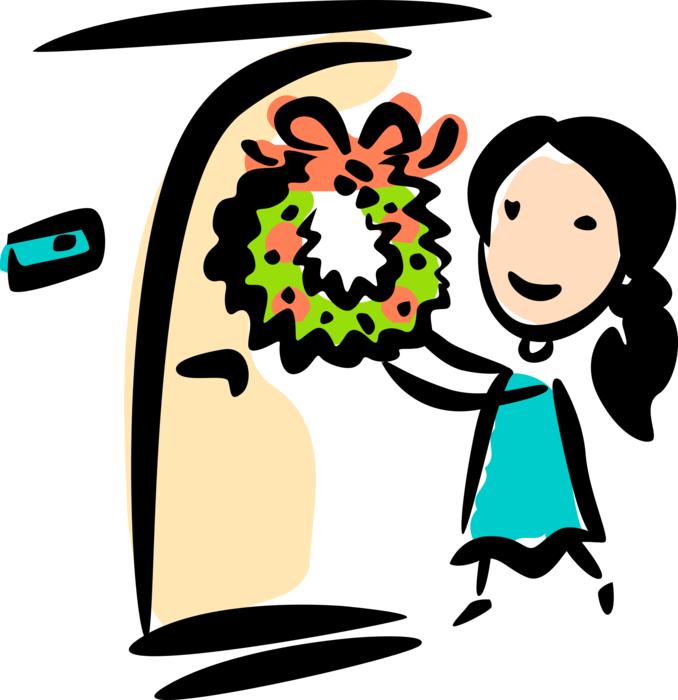 Hangs christmas wreath on. Young clipart youngster