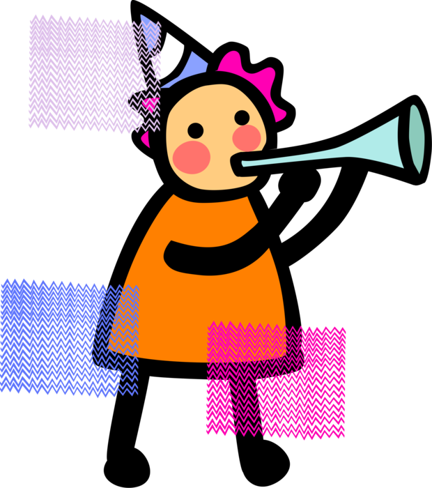 Blows noisemaker horn vector. Young clipart youngster