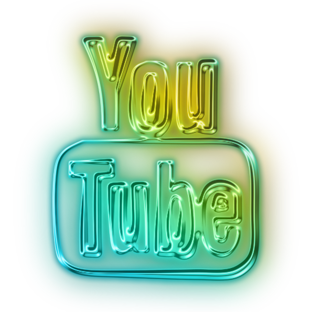 Youtube clipart colorful. Logo neon led blue