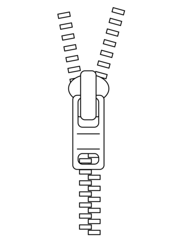 Zipper clipart. Coloring page free printable