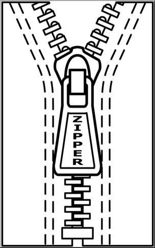 Zipper clipart black and white. X free clip art