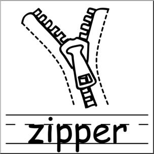 Basic words b w. Zipper clipart clip art