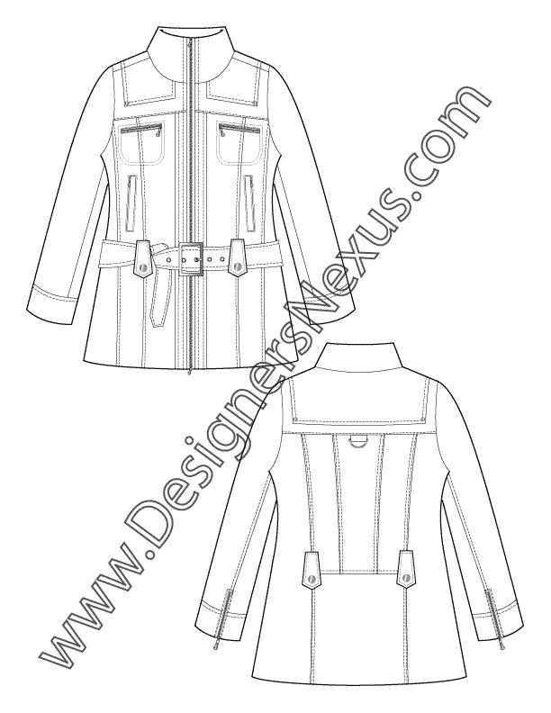Zipper clipart coat zipper. Apparel flat sketch v