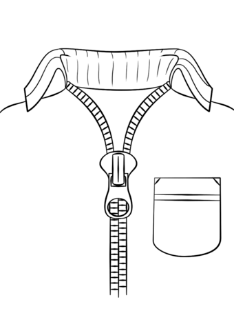 Zipper clipart coloring page. Sweater with free printable