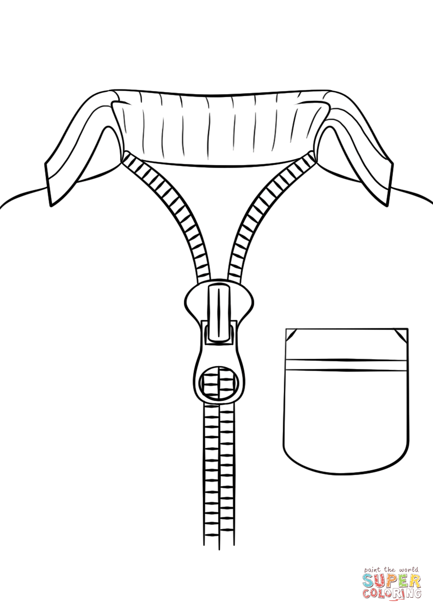 Sweater with free printable. Zipper clipart coloring page