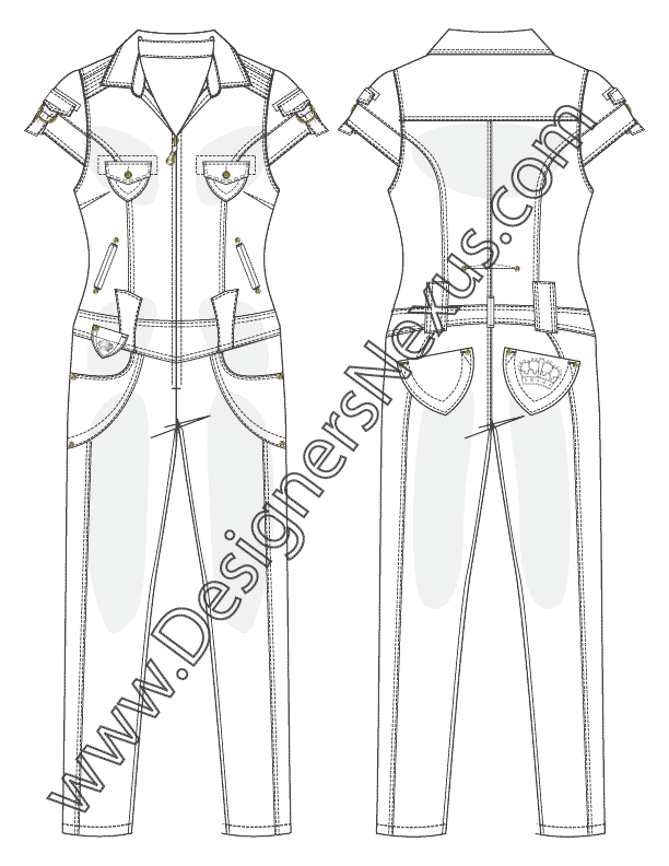 Zipper clipart sketch. Denim one piece jumpsuit