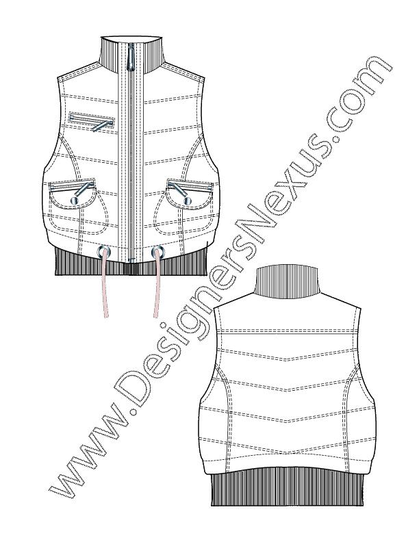 Flat v front puffer. Zipper clipart sketch