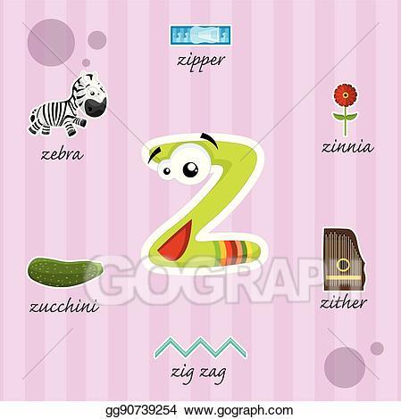 Zipper clipart z word. Vector art letter with
