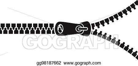 Vector art black drawing. Zipper clipart zip