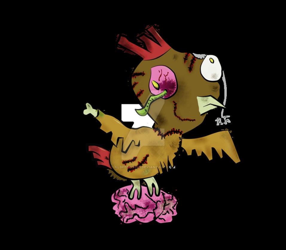 Chicken brown by albrecht. Zombie clipart bird