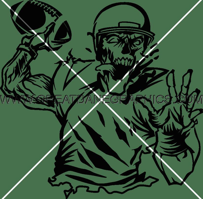 Quarterback production ready artwork. Zombie clipart black and white