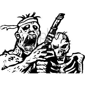 Skeleton illustration royalty free. Zombie clipart black and white