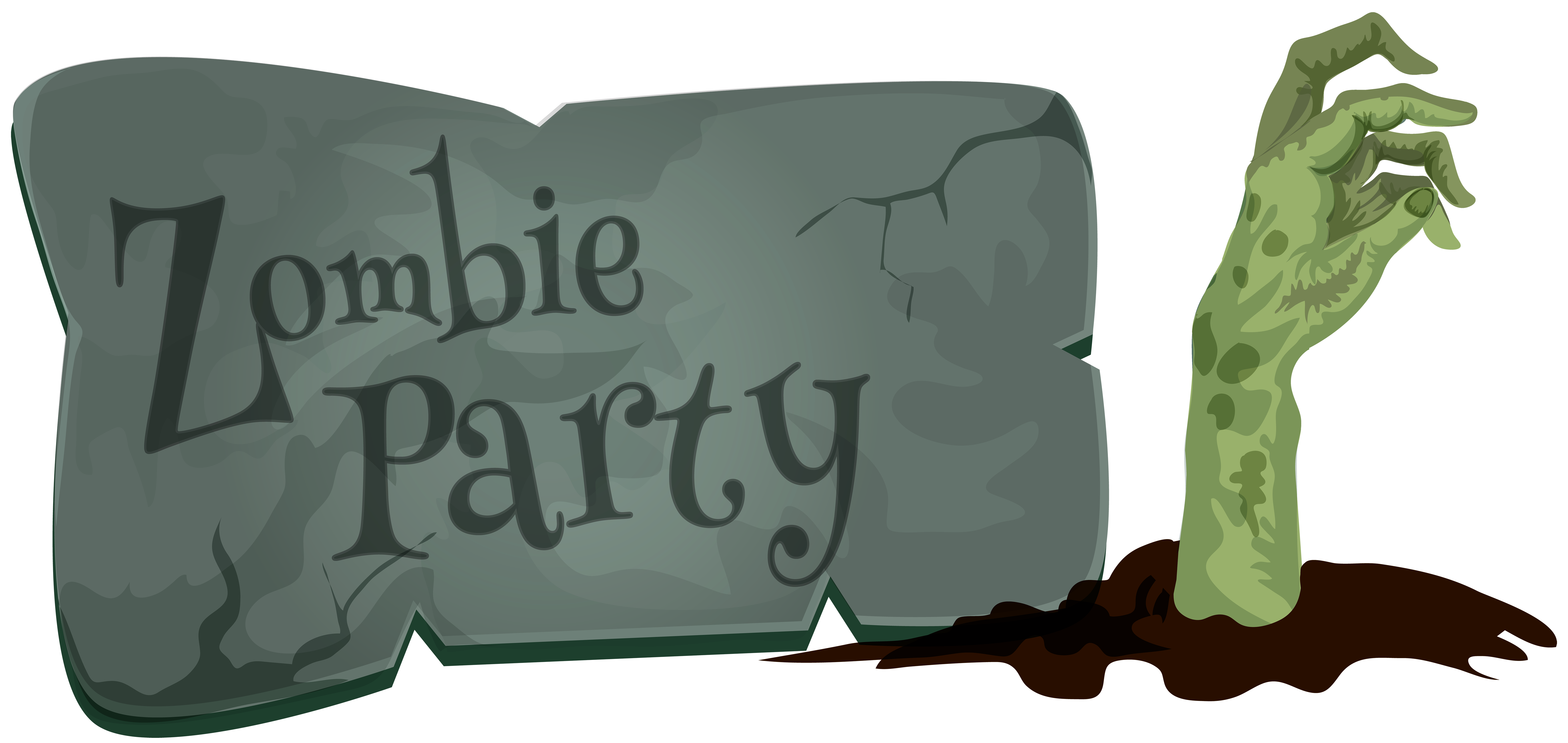 Zombie clipart border. Halloween party png clip
