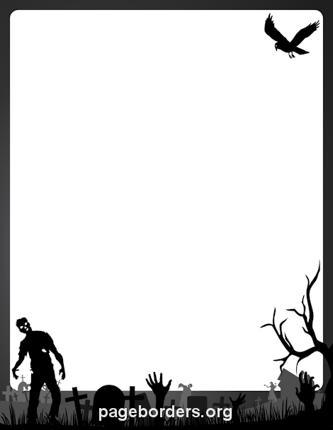 Clip art page and. Zombie clipart border