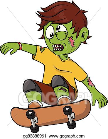 Eps illustration playing skate. Zombie clipart boy