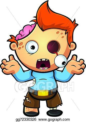 Zombie clipart boy. Vector art shocked eps