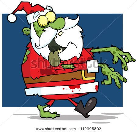 Zombie clipart christmas. Santa claus walking with