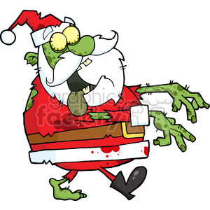 Zombie clipart christmas.  santa walking with