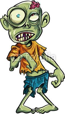 Zombie clipart eyes. Cartoon with a big