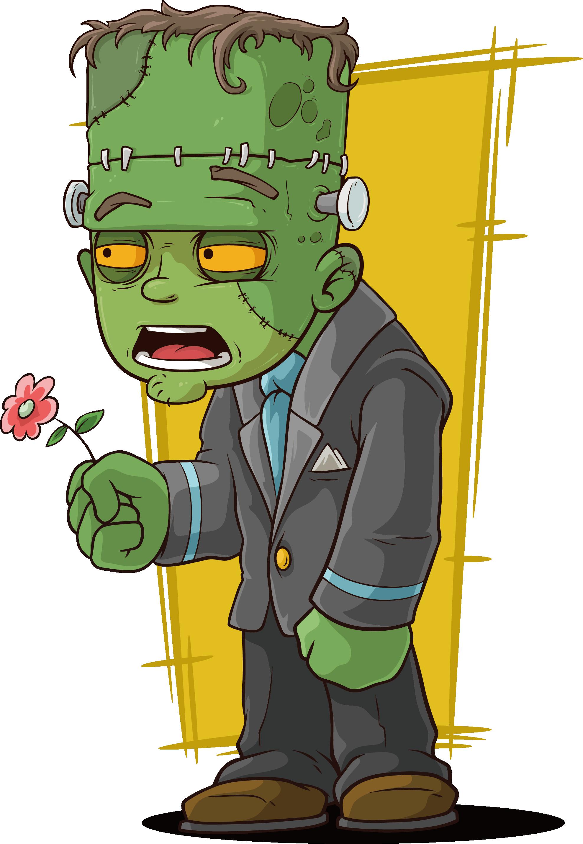 Zombie clipart green hand. Frankensteins monster cartoon zombies