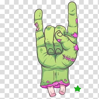 Zombie clipart green hand. S rock and roll