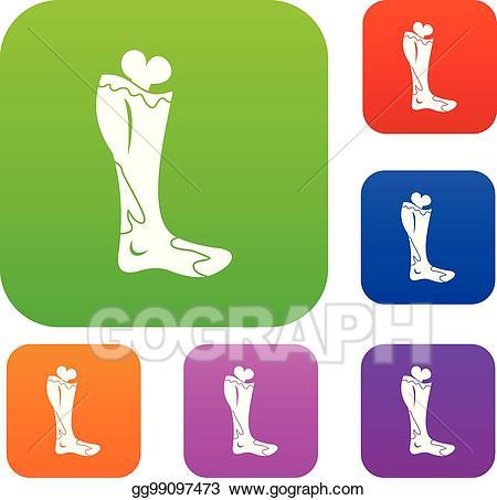 Zombie clipart leg. Vector illustration set color