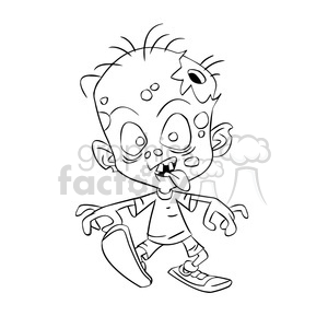 Child cartoon black white. Zombie clipart outline