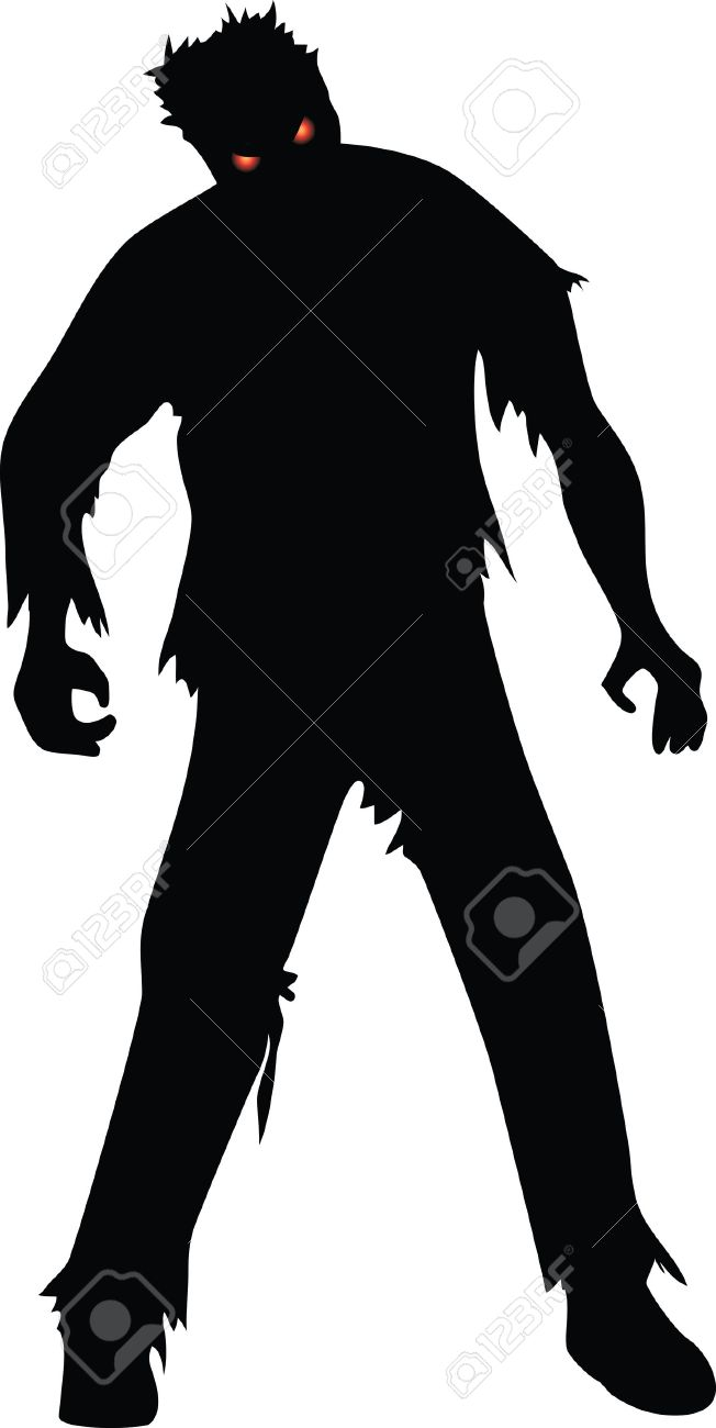 Zombie clipart outline. Black and white free