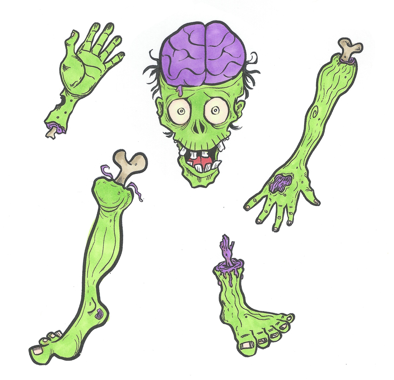Art gone wild stamps. Zombie clipart parts