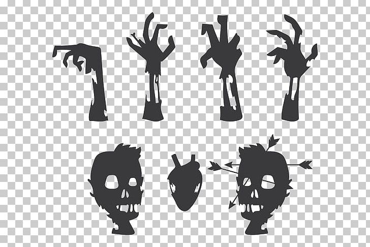 Zombie clipart parts. Silhouette black and white