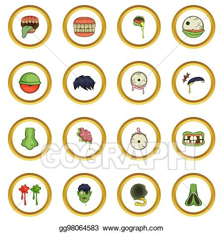 Zombie clipart parts. Stock illustration icons circle