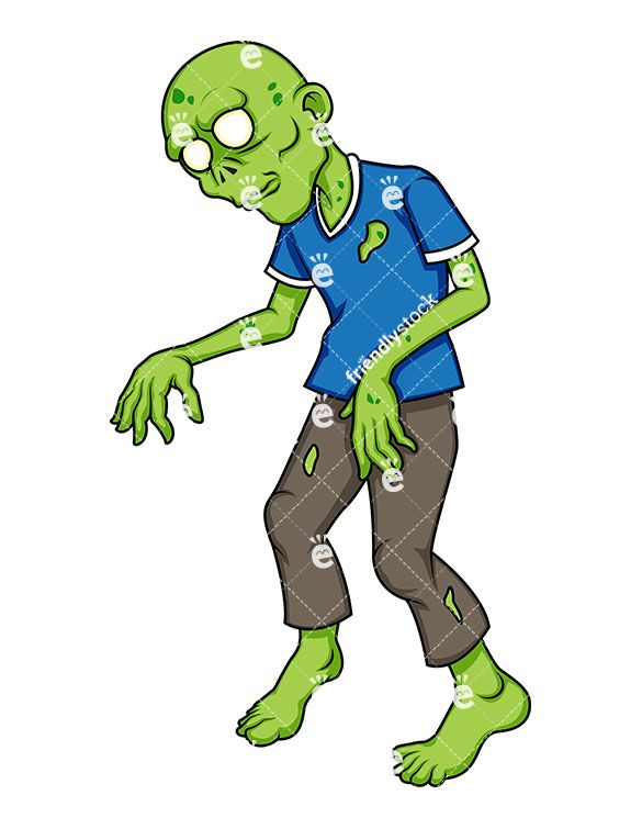 Zombie clipart royalty free. Green cartoon