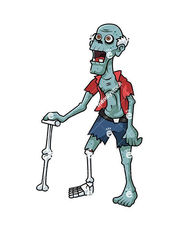 Old man cartoon . Zombie clipart royalty free