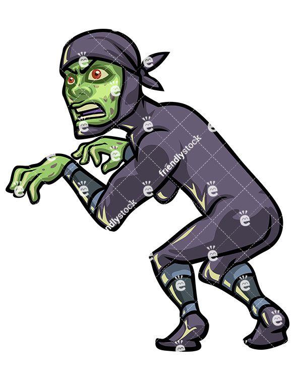Ninja cartoon . Zombie clipart royalty free