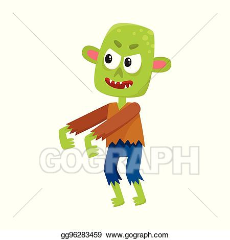 Zombie clipart scary halloween monsters. Clip art vector little