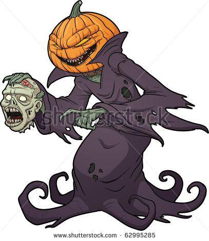 Zombie clipart scary halloween monsters. Pumpkin cartoon monster