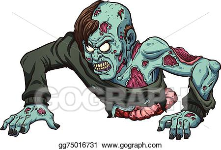 Zombie clipart vector. Stock crawling illustration