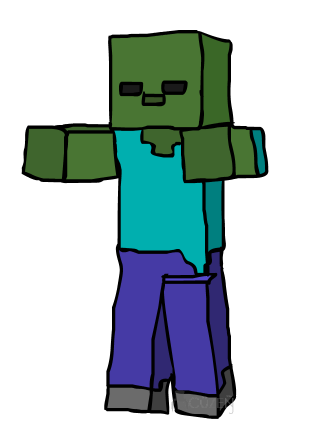 Minecraft drawing at getdrawings. Zombie clipart vector